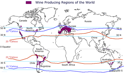 world wine map